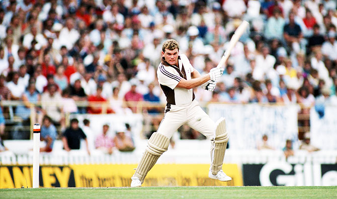 New Zealand batsman Martin Crowe cuts the ball during his unbeaten 105 during the 3rd ODI between New Zealand and England at Eden Park, in Auckland, New Zealand, on February 25, 1984