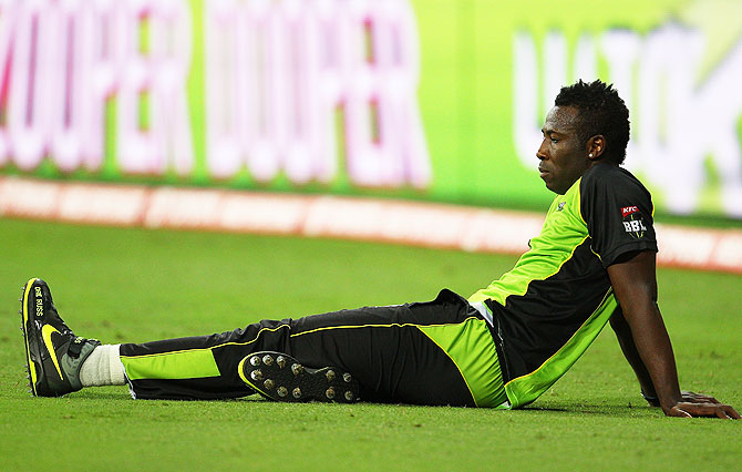 West Indies' Andre Russell looks on during the Big Bash League