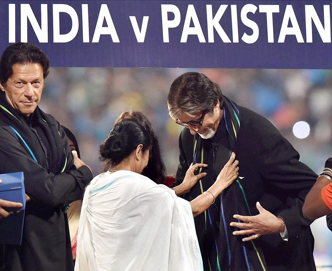 Imran Khan, Pakistan's next prime minister, at the Eden Gardens before the India-Pakistan T20 game, March 2016. Photograph: PTI