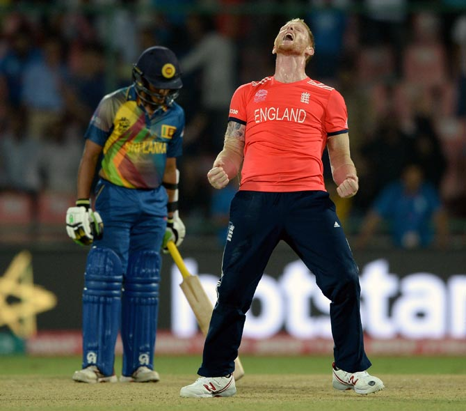 Ben Stokes celebrates after England beat Sri Lanka in the ICC World T20 in New Delhi, March 29, 2016. Photograph: Gareth Copley/Getty Images
