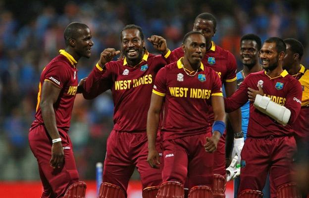 The West Indies players celebrate their semi-final triumph against India, March 31, 2016. Photograph: Danish Siddiqui/Reuters