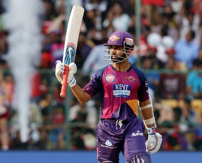 Ajinka Rahane acknowledges the crowd after scoring half a century for the Rising Pune Supergiants who were pitted against the Royal Challengers.