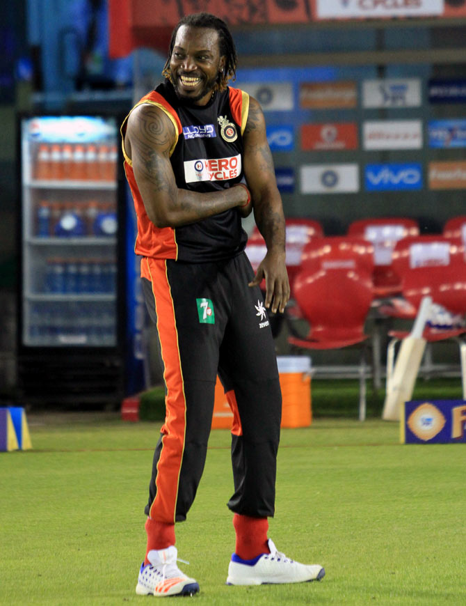 Chris Gayle of RCB during a training session