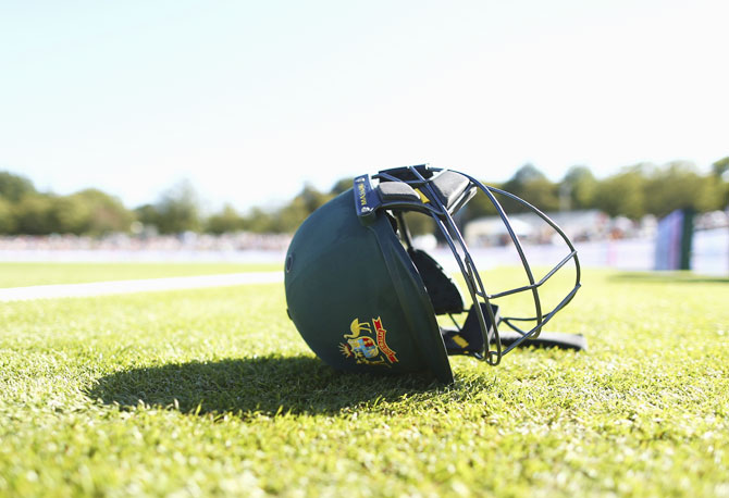 : An Australian helmet is seen during day two of the Test match between New Zealand and Australia at Hagley Oval on February 21, 2016