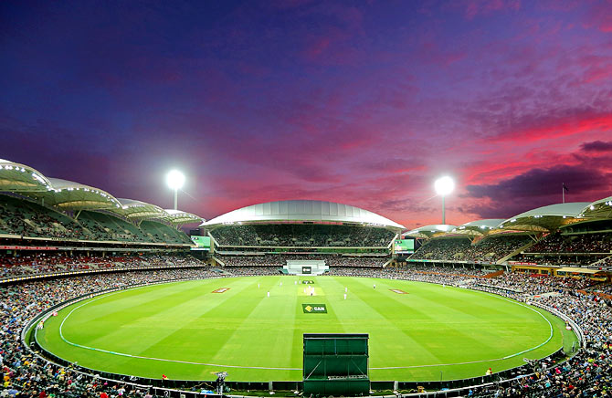 The first floodlit Test match between Australia and New Zealand at Adelaide Oval on November 27, 2015.
