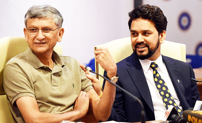 Board of Control for Cricket in India President Anurag Thakur, right, and BCCI Secretary Ajay Shirke