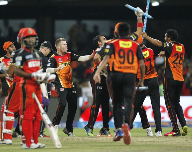 Sunrisers Hyderabad Captain David Warner, centre, celebrates with team-mates after winning IPL 2016. Photograph: BCCI.