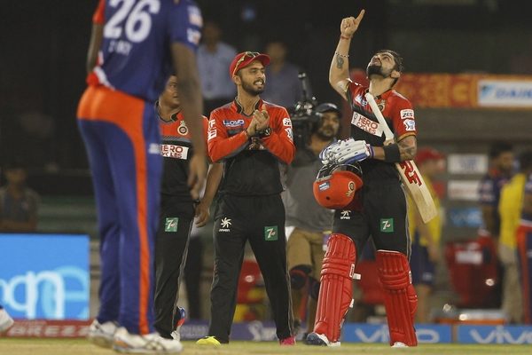 Virat Kohli looks to the heavens after guiding RCB to the Playoffs after the victory against the Delhi Daredevils at Raipur, May 22.