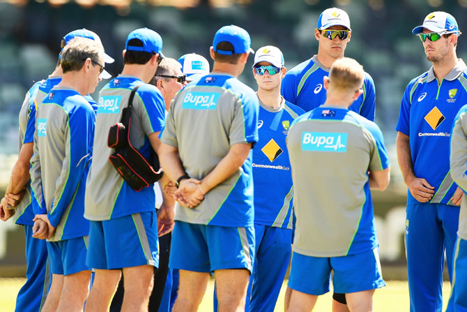 Australia's Steve Smith listens to a team address during an Australia nets session