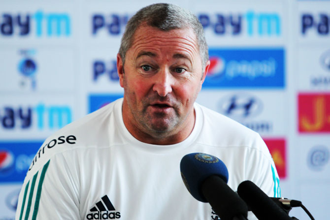 England's assistant coach Paul Farbrace addressing the media after the 3rd day's play in Rajkot on Friday