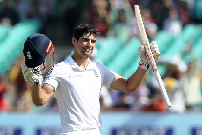 England captain Alastair Cook celebrates on completing his 30th Test century in Rajkot on Sunday