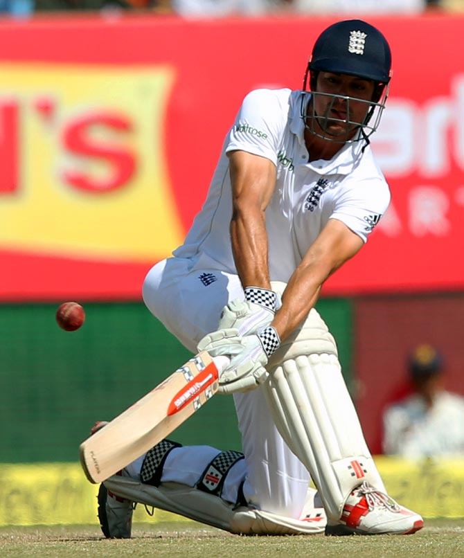 Alastair Cook bats during Day 5 of the 1st Test in Rajkot