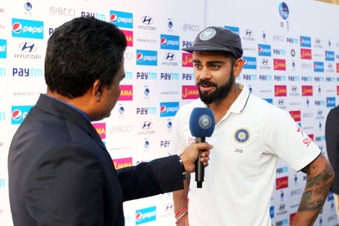 India captain Virat Kohli speaks at the post-match press conference after the 1st Test in Rajkot on Sunday