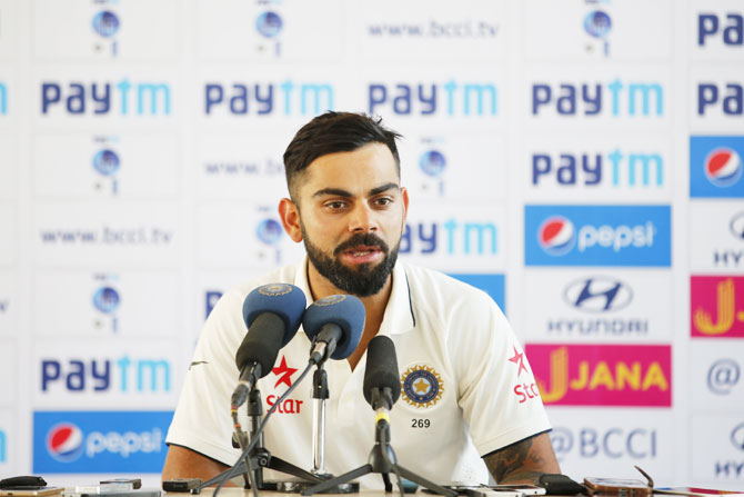 India captain Virat Kohli speaks during the press conference after the first Test at the Saurashtra Cricket Association Stadium in Rajkot on Sunday
