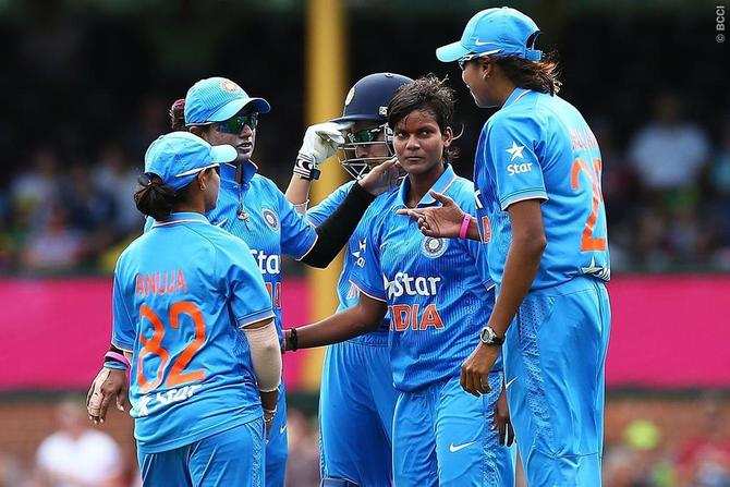 Deepti Sharma (centre) is the second-fastest (43 matches) and second-youngest woman to the career double of 1000-plus runs and 50-plus wickets in ODI cricket
