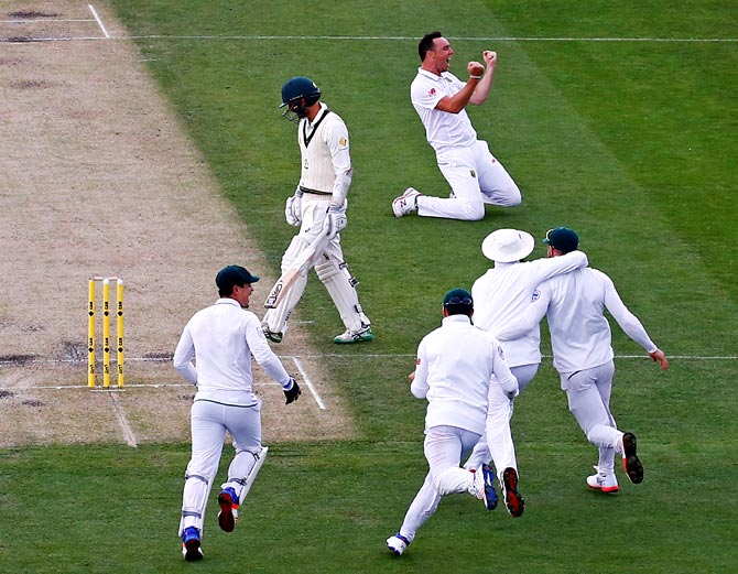 South Africa's Kyle Abbott and his team mates after taking the final wicket of Nathan Lyon to win the second Test in Hobart last week