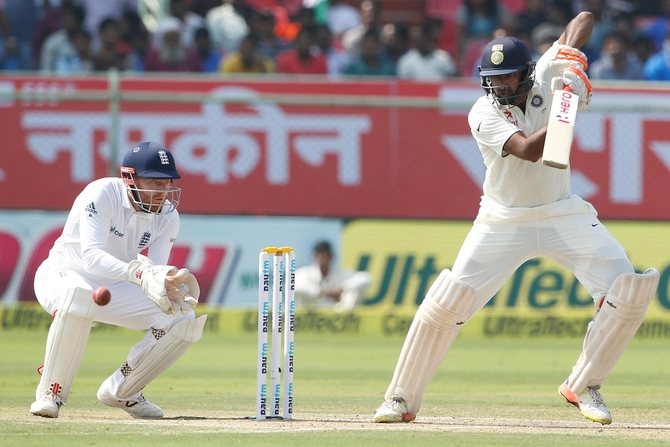 India's Ravichandran Ashwin plays a shot against England on day 2 of the second Test in Vizag