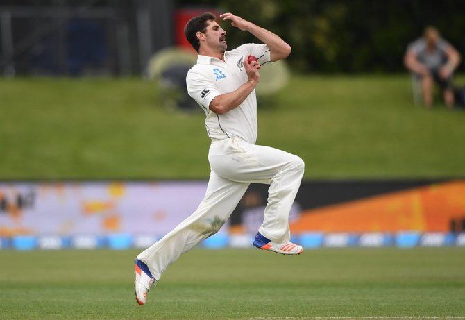 Colin de Grandhomme took 6/41 for New Zealand against Pakistan in his first Test at the Hagley Oval in Christchurch, November 18, 2016. Photograph: New Zealand Cricket