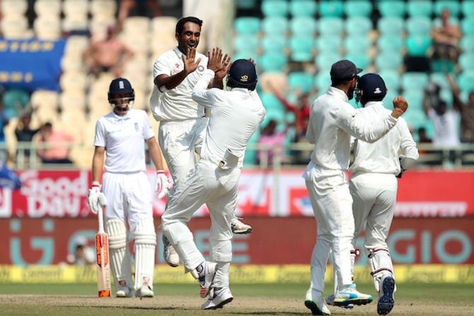 Jayant Yadav of India celebrates after dismissing Ben Stokes of England in the second Test in Vizag