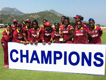 The victorious West Indies women's team after their win over India on Tuesday