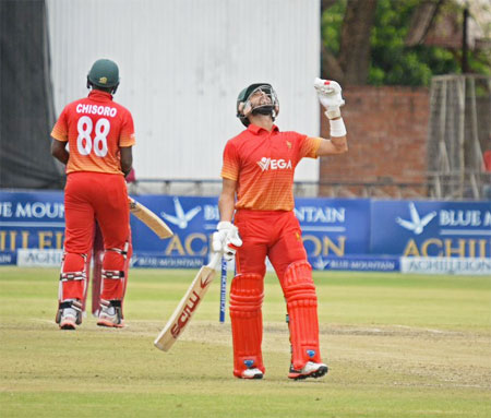 Zimbabwe's Sikander Raza and Chisoro in action during the One-dayer against West Indies in Harare on Friday