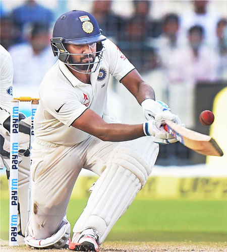 Rohit Sharma bats during his 82-run knock on Day 3 of the 2nd Test against New Zealand on Sunday