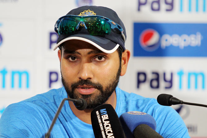 Rohit Sharma speaks to the media after the third day's play in Kolkata on Sunday