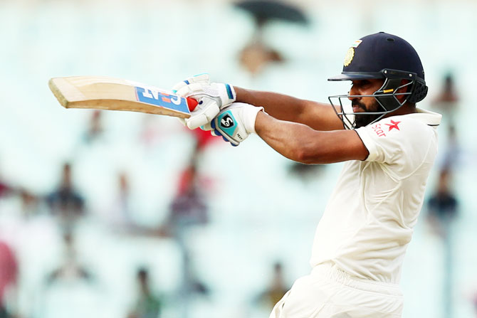 India's Rohit Sharma in action on Day 3 of the second Test against New Zealand at the Eden Gardens stadium in Kolkata on Sunday
