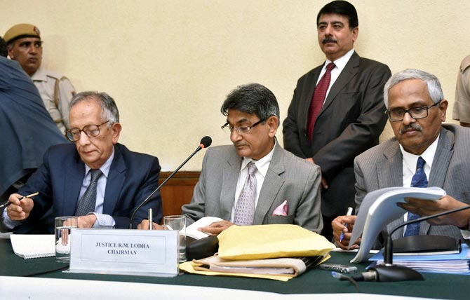 Justice Rajendra Mal Lodha, centre, chairman of the Supreme Court-appointed Lodha Committee with member Justice Ashok Bhan, left, and Justice RV Raveendran