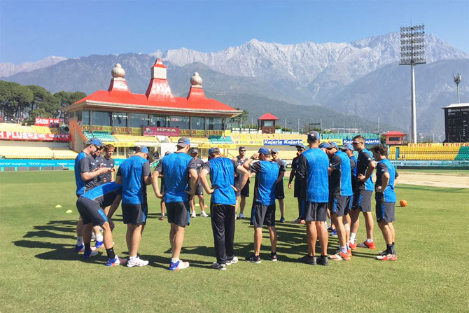 New Zealand huddle up before their training session in Dharamsala on Saturday