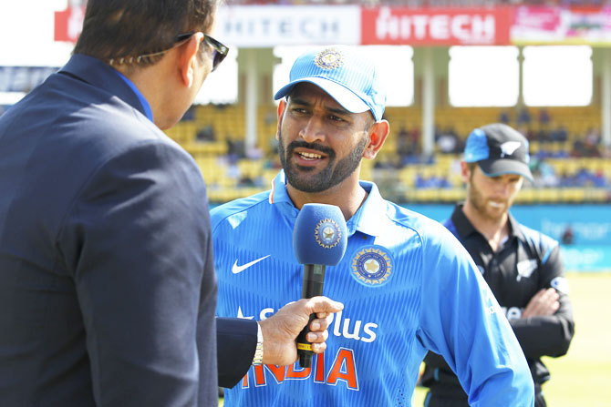 India's ODI captain Mahendra Singh Dhoni at the post-match presentation in Dharamsala on Sunday