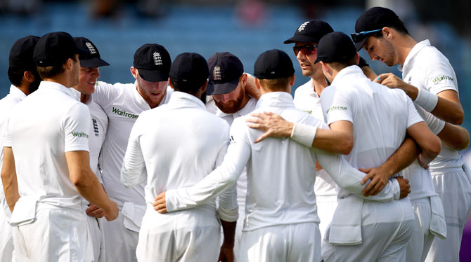 England captain Alastair Cook speaks to his team before taking to the field during the second day of the 2nd Test match against Bangladesh at Sher-e-Bangla National Cricket Stadium in Dhaka on Saturday