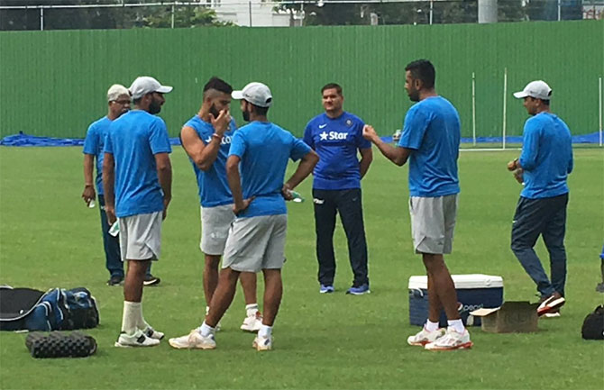 India cricketers at a practice session in Kanpur on Sunday