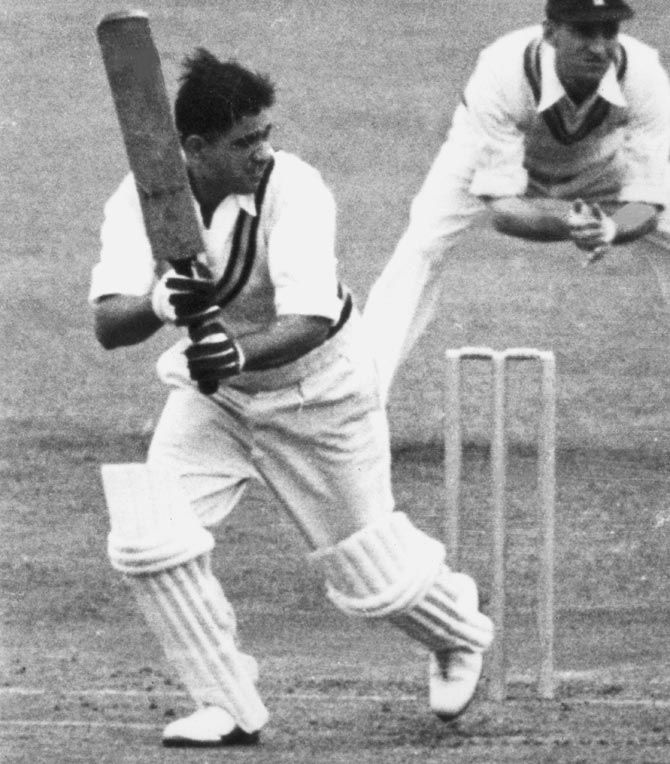 Vinoo Mankad in action during a Test against England, Old Trafford, Manchester, 1952
