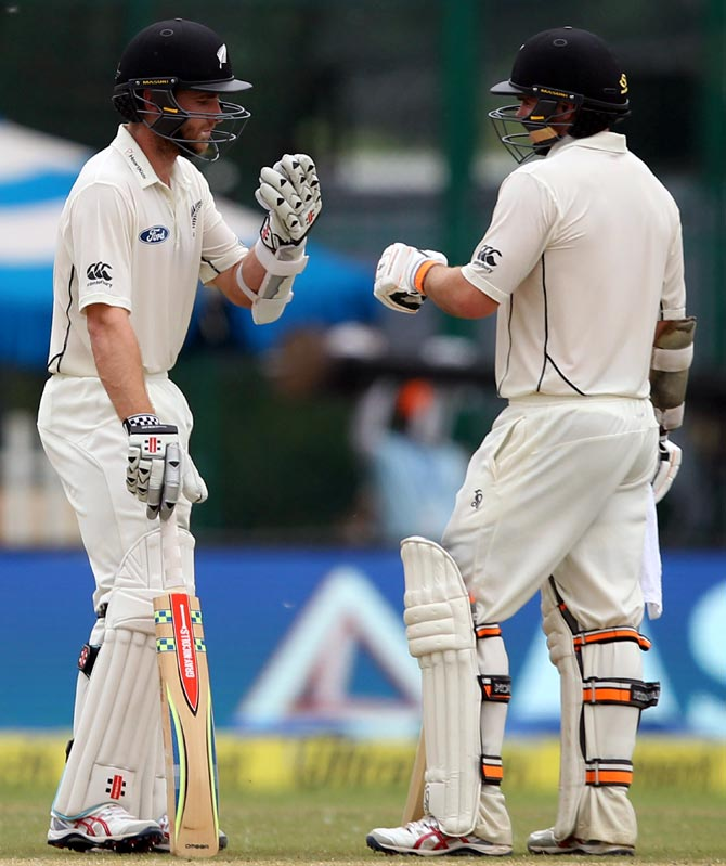 New Zealand's Kane Williamson and Tom Latham at the crease on Day 2 of the first Test in Kanpur on Friday