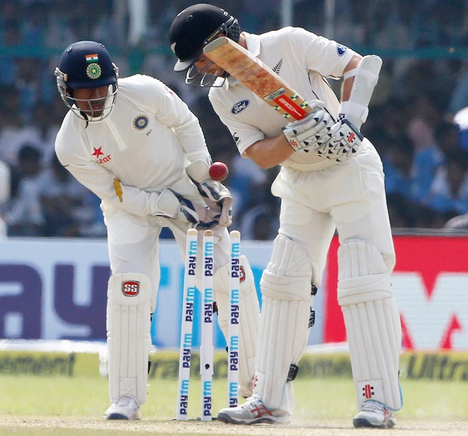 Kane Williamson Captain of New Zealand is bowled by Ravichandran Ashwin