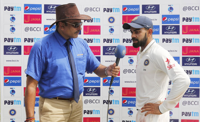 India captain Virat Kohli at the presentation ceremony at the end of the first Test in Kanpur on Monday