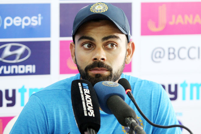 India captain Virat Kohli speaks at a press conference in Kanpur on Monday