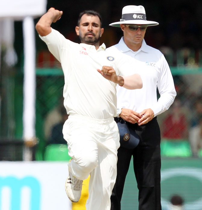 India's Mohammed Shami bowls on Day 5 of the 1st Test against New Zealand in Kanpur on Monday
