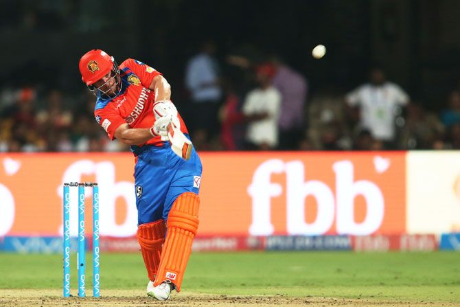 Gujarat Lions' Aaron Finch in action during his 72-run quickfire innings against Royal Challengers Bangalore on Thursday