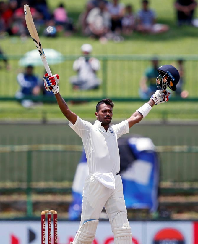 Hardik Pandey celebrates scoring his maiden first class and Test century against Sri Lanka on Sunday