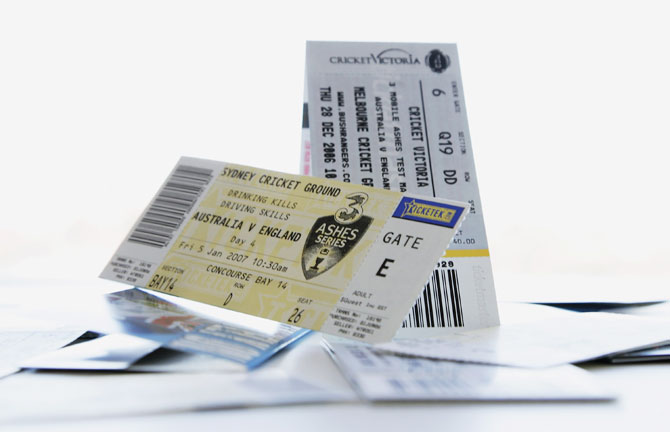 Tickets to the Ashes Series between Australia and England are displayed September 1, 2006 in September, 2006 in Sydney, Australia. Cricket Australia confirmed on Wednesday that it would resell nearly 3000 tickets after an investigation revealed the tickets has been purchased by scalpers selling them at inflated prices on ebay