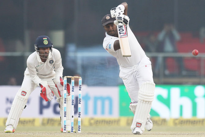 Sri Lanka's Angelo Mathews bats on Day 2 of the 3rd Test match against India at the Feroz Shah Kotla Stadium in Delhi on Sunday
