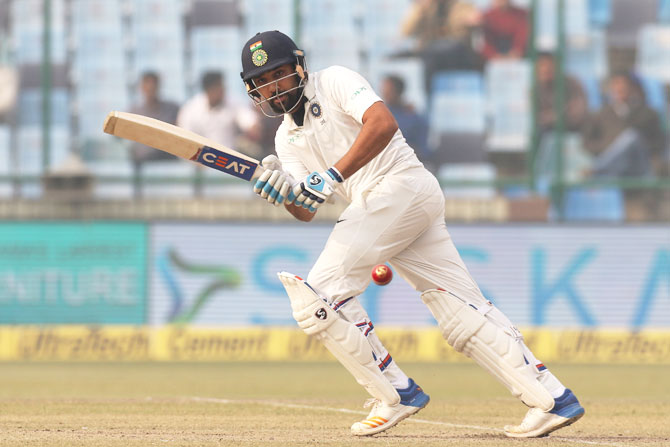 Rohit Sharma bats during his innings of 65