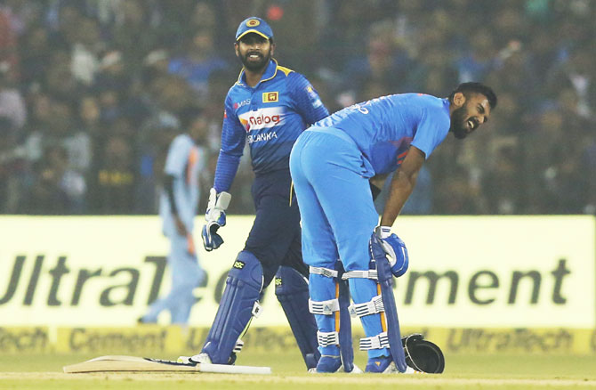 KL Rahul grimaces as he gets hit on the groin, inducing a smile from Lanka keeper Niroshan Dickwella