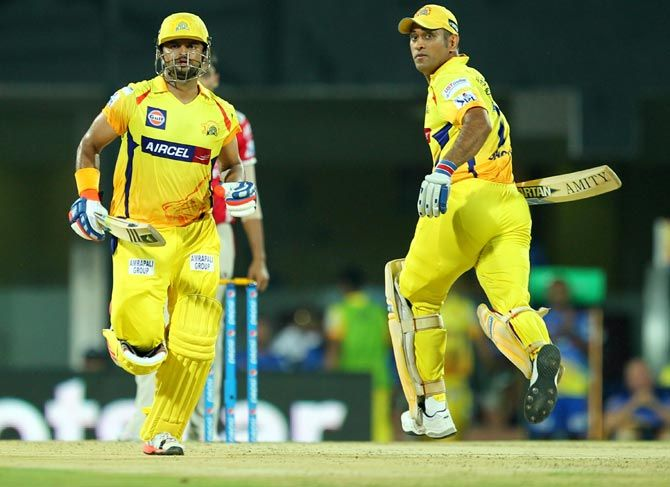 CSK's Suresh Raina and Mahendra Singh Dhoni stitched up a 61-run partnership to bring the team back from the brink