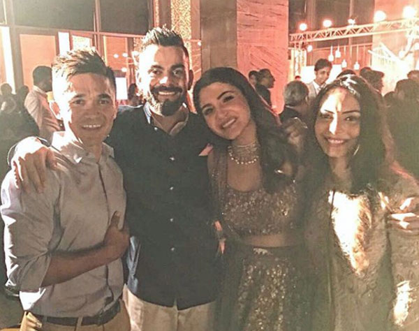 Newly weds India's football captain Sunil Chhetri and wife Sonam with Virat and Anushka