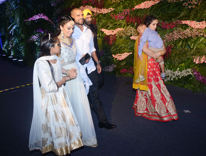 India opener Shikhar Dhawan arrives at the venue with his family