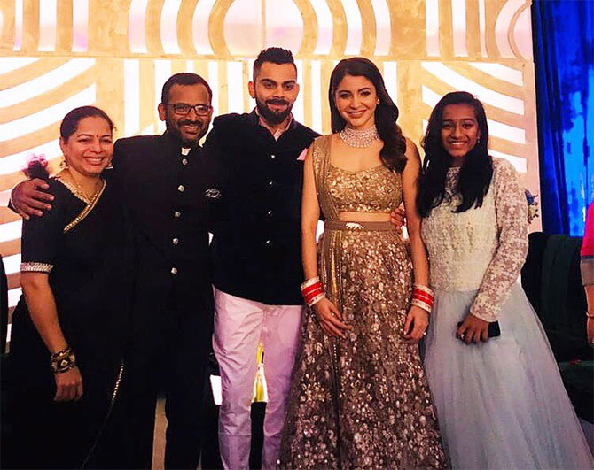 India's fielding coach R Sridhar and his family with Virat and Anushka