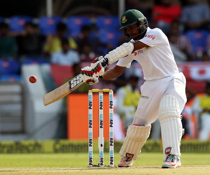 Mehedi Hasan Miraz hits a boundary in the Hyderabad Test. Photograph: BCCO
